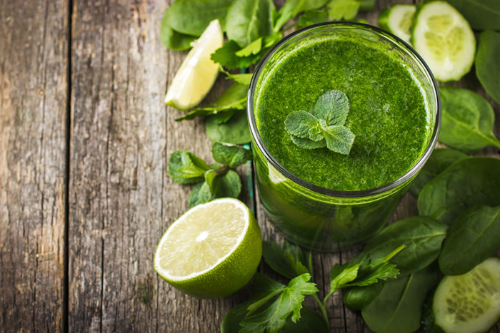 Green Juice On Wooden Table