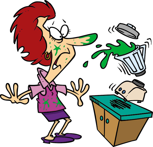 Cartoon Of Woman Spilling Overfilled Blender