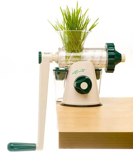 Healthy Juicing Juicer with wheatgrass in it