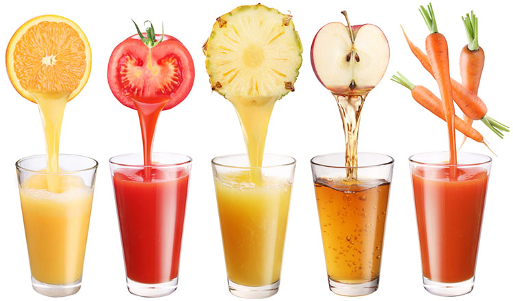 Different Juices Going Into Glasses