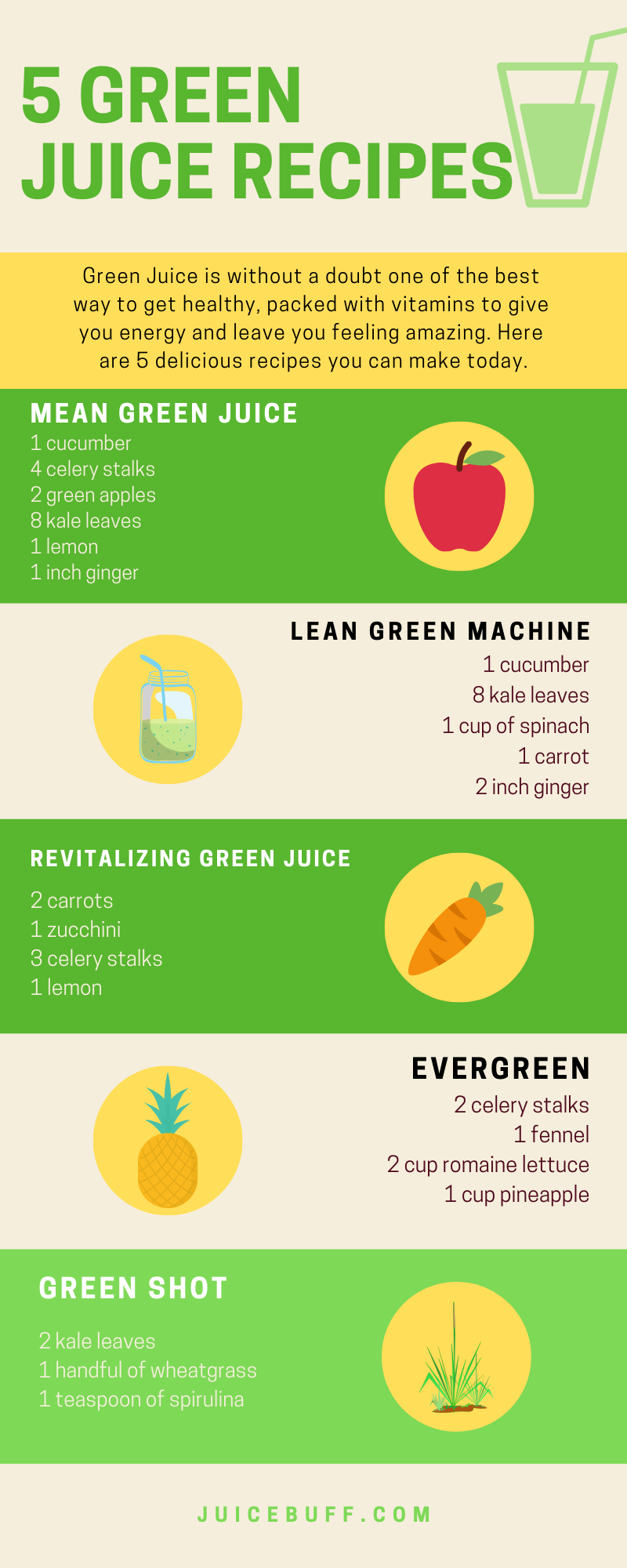 5 Easy and delicious green juice recipes that you can try today. Just wash all the ingredients, remove cores and roots, and you're ready to make some green juice!