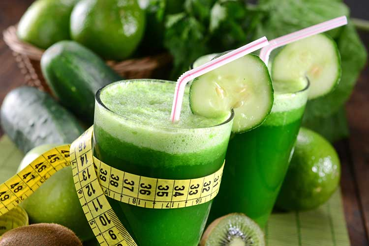 Green Juice Being Measure For Weight Loss