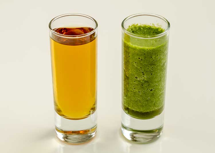 Glass of Smoothie and Glass of Juice
