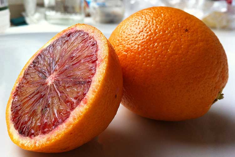Blood Orange about to be juiced