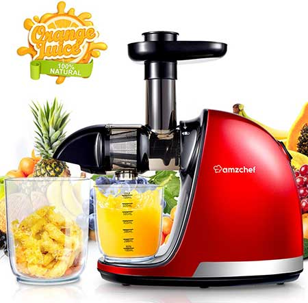 AMZCHEF Juicer, Slow- Extractor Professional Machine with Quiet Motor