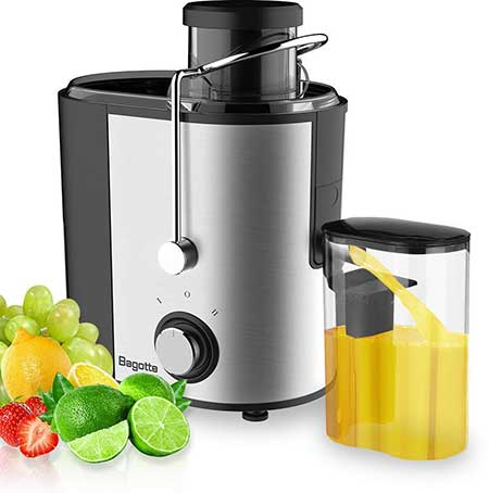 Bagotte Compact Juice Extractor Fruit and Vegetable Juice Machine Wide Mouth Centrifugal, Easy Clean Juicer