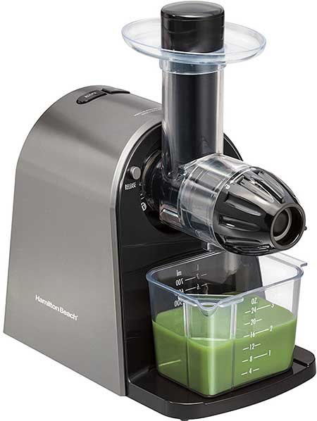 Hamilton Beach Masticating Juicer Machine, Slow and Quiet Action, Cold Pressed Fruits & Vegetables