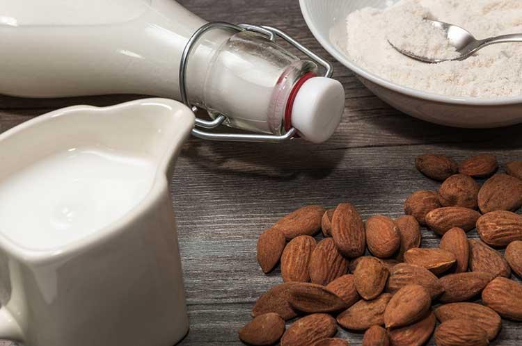 Almond milk ready for freezing