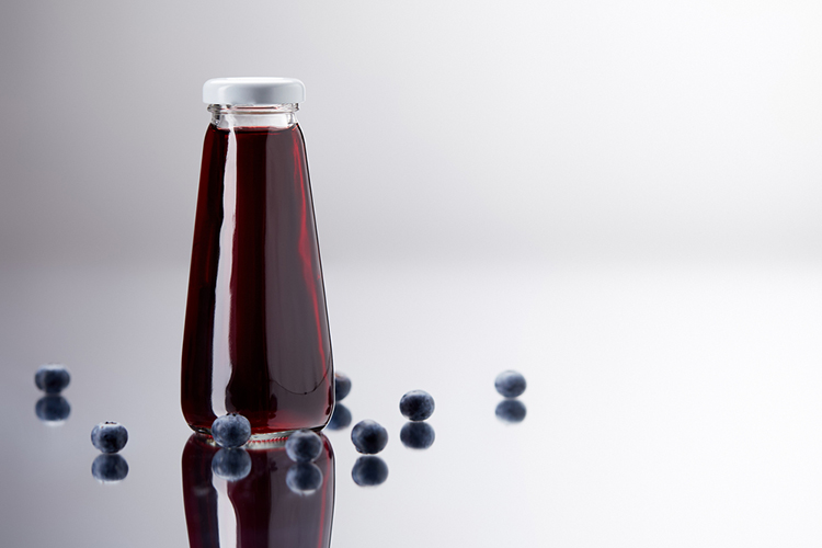 Blueberries juiced and ready to drink