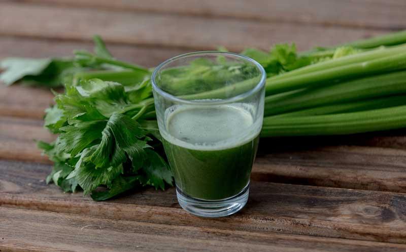 Celery Juice on a table